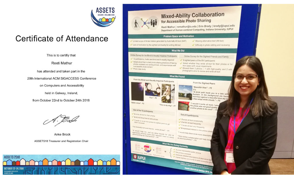 Certificate of participation on the left and myself presenting the poster on the right